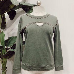 Sanctuary Studded Green Sweatshirt